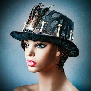 Voodoo Black New Orleans Top Hat w/ Skull, Bone
